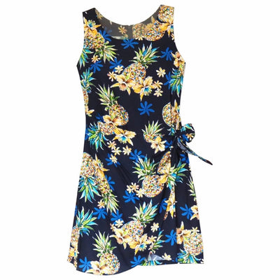 Pineapple Blue Honi Hawaiian Dress - S / Blue - Womens Dress