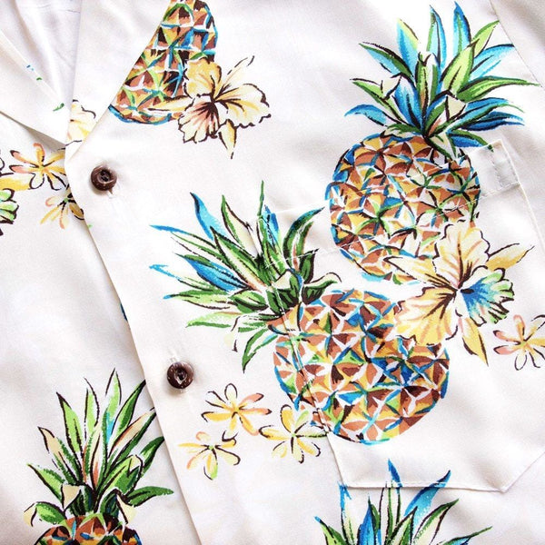 Pineapple Cream Hawaiian Rayon Shirt - Mens Shirts