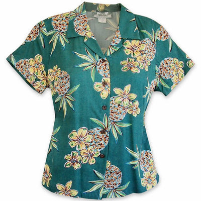 Pineapple Green Lady's Hawaiian Rayon Blouse - Women's Blouses