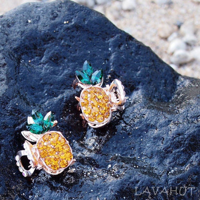 Pineapple Sparkly Hawaiian Flower Hair Claw Set - Yellow - Hair Accessories