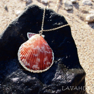 Pink Scallop Seashell Hawaiian Pendant Necklace - Pink - Necklaces