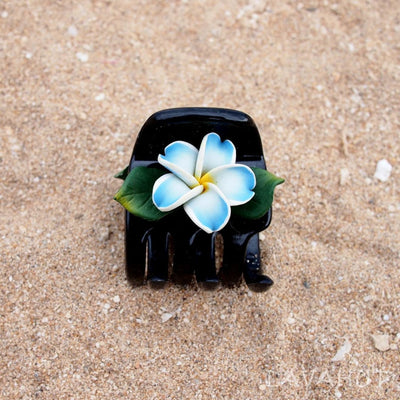 Plumeria Blue Hawaiian Flower Hair Claw - Hair Accessories