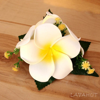 Plumeria Summer Hawaiian Flower Hair Clip - White - Hair Accessories