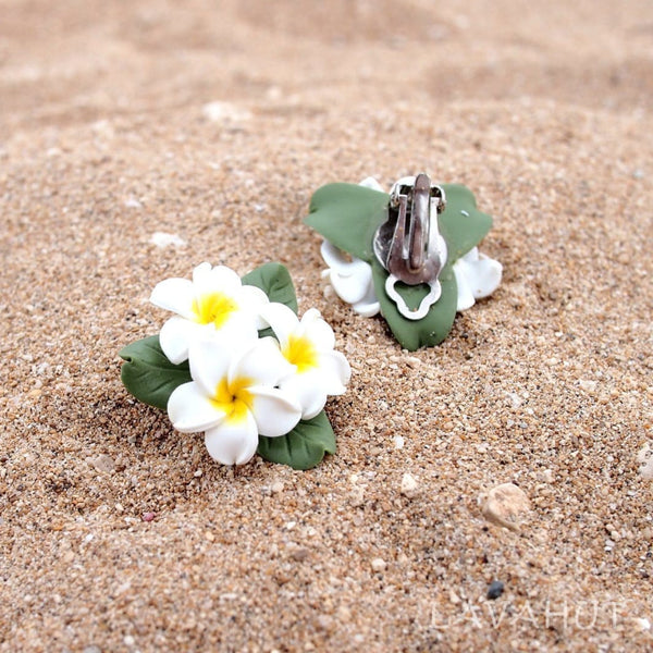 Plumeria Yellow Clip-On Earrings - Earrings