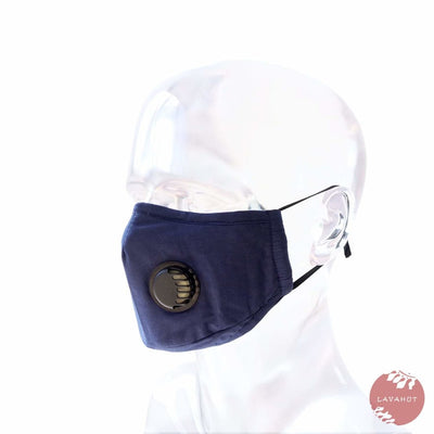 Pm 2.5 Respirator Face Mask • Navy (black Valve) - Navy / Black - Face Mask