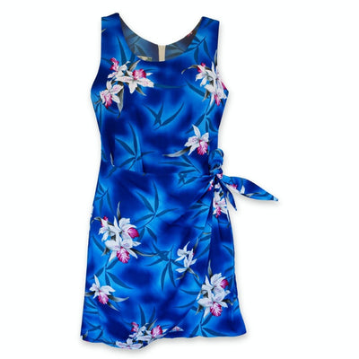 Poipu Blue Honi Hawaiian Dress - s / Blue - Women's Dress