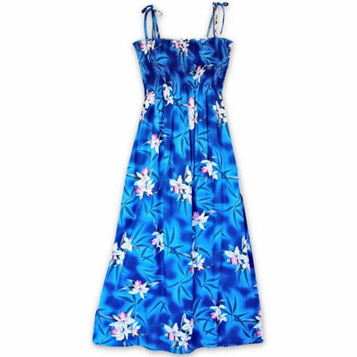 Poipu Blue Maxi Hawaiian Dress - One Size / Blue - Women's Dress