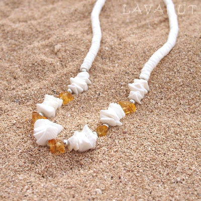 Puka Gem Yellow Hawaiian Necklace - Yellow - Necklaces