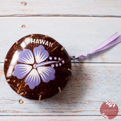 Purple Hibiscus Fun Hawaiian Coconut Coin Purse - Purple - Hawaiian Bags