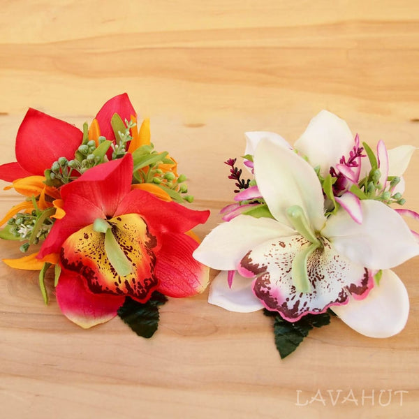 Queen Orchid Red Hawaiian Flower Hair Clip - Hair Accessories