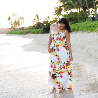 Rain White Maxi Hawaiian Dress - One Size / White - Women's Dress