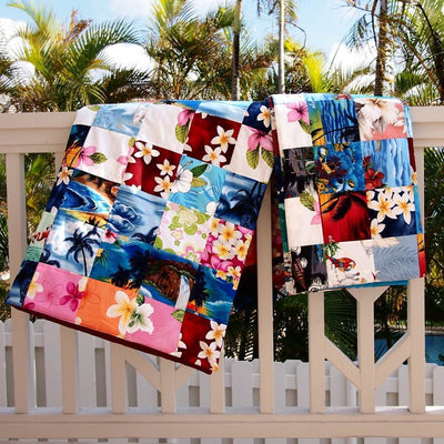 Red Hawaiian Patchwork Throw - Red - Quilt