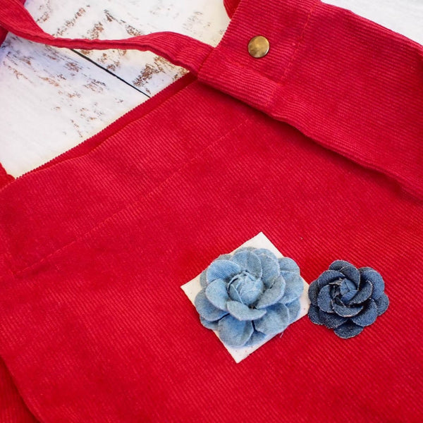 Red Maile Denim Floral Corduroy Tote Bag - Hawaiian Bags