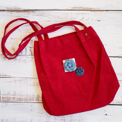 Red Maile Denim Floral Corduroy Tote Bag - Red - Hawaiian Bags
