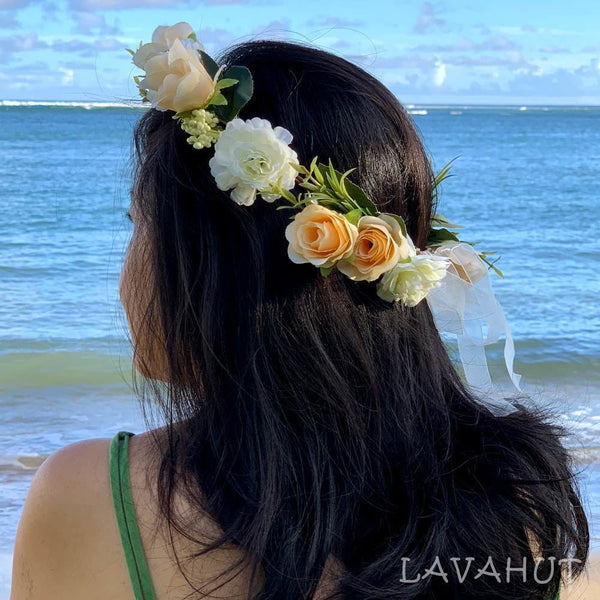 Rosy Cream Flower Crown - Hair Accessories