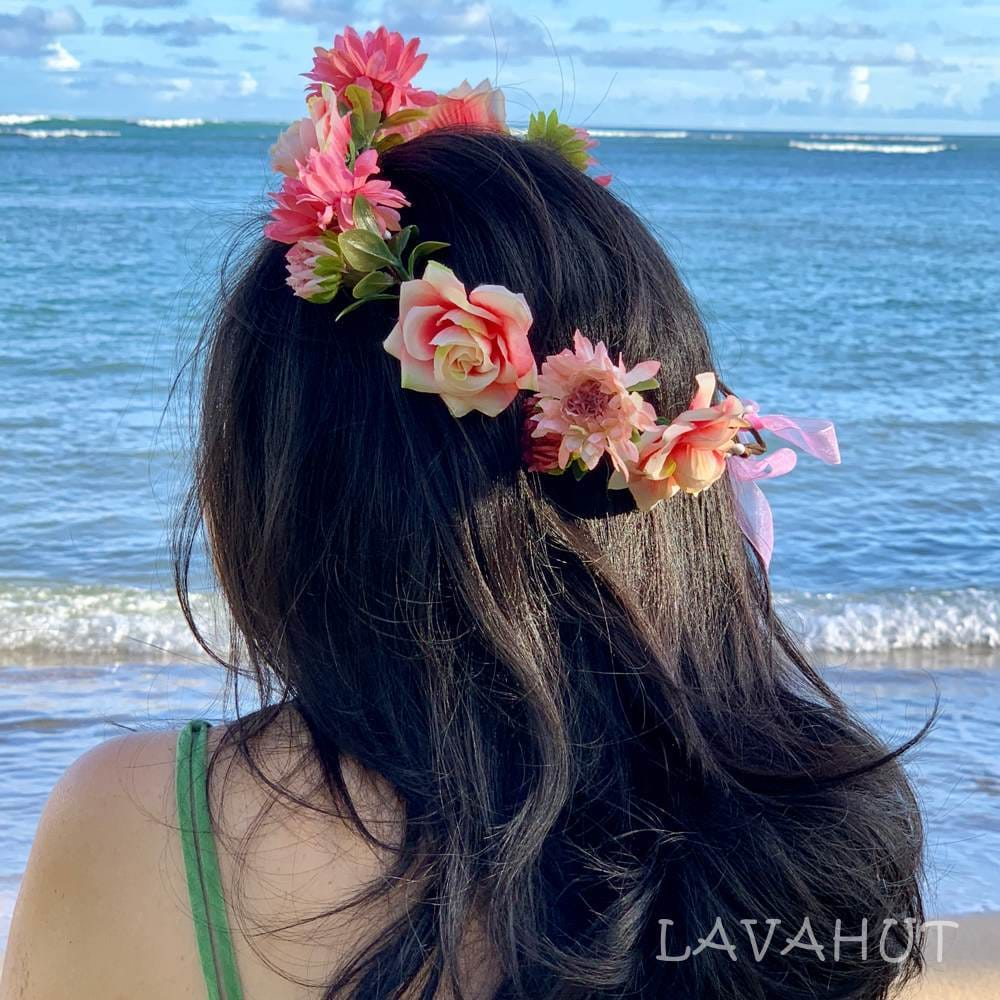 Rosy Pink Flower Crown - Hair Accessories