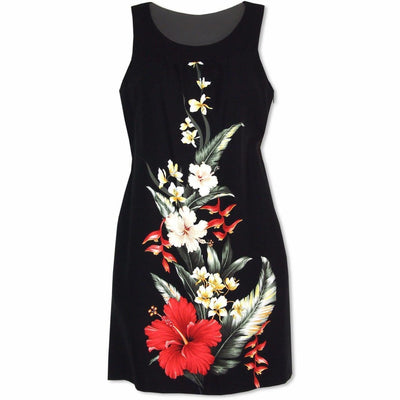 Royal Hibiscus Maile Hawaiian Dress - s / Black / Final Sale - take an Extra 25% off with Code Final - Women's Dress