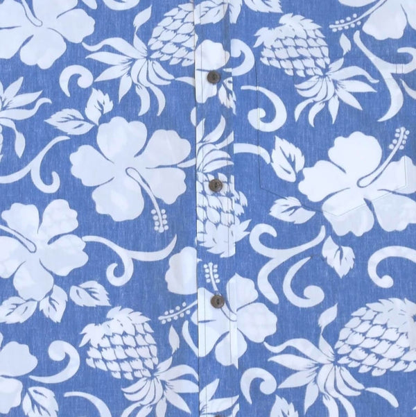 Royal Pineapple Blue Hawaiian Reverse Shirt - Mens Shirts