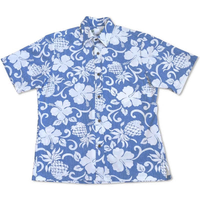 Royal Pineapple Blue Hawaiian Reverse Shirt - Men's Shirts