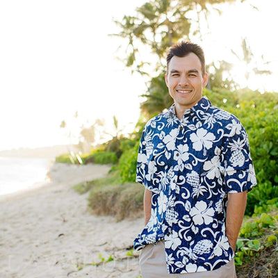Royal Pineapple Navy Hawaiian Reverse Shirt - Mens Shirts
