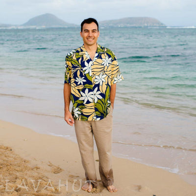 Sea Breeze Navy Hawaiian Rayon Shirt - Men's Shirts