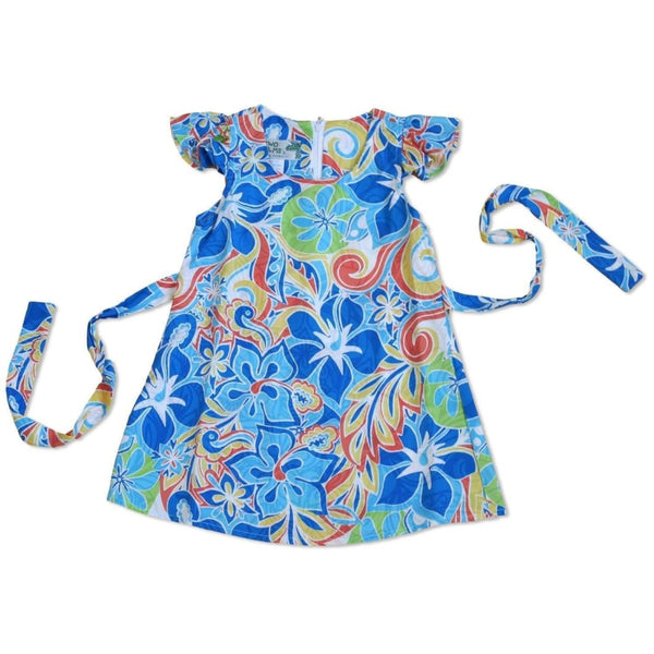 Seaglass Blue Hawaiian Girl Rayon Dress - Girls Hawaiian Dresses