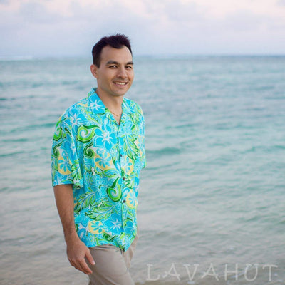 Seaglass Green Hawaiian Rayon Shirt - Men's Shirts