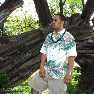 Shell Ginger Cream Hawaiian Rayon Shirt - Mens Shirts