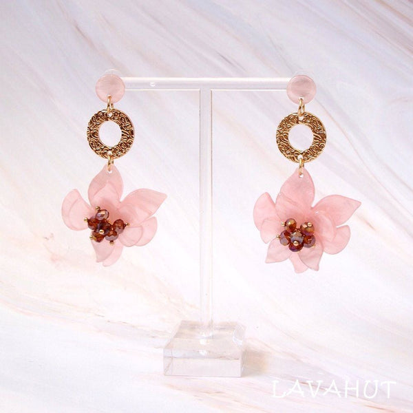 Starburst Pink Floral Earrings - Earrings