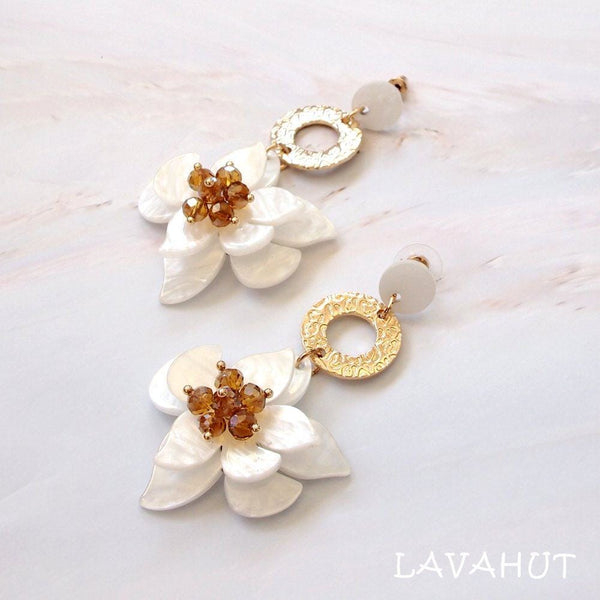 Starburst White Floral Earrings - Earrings
