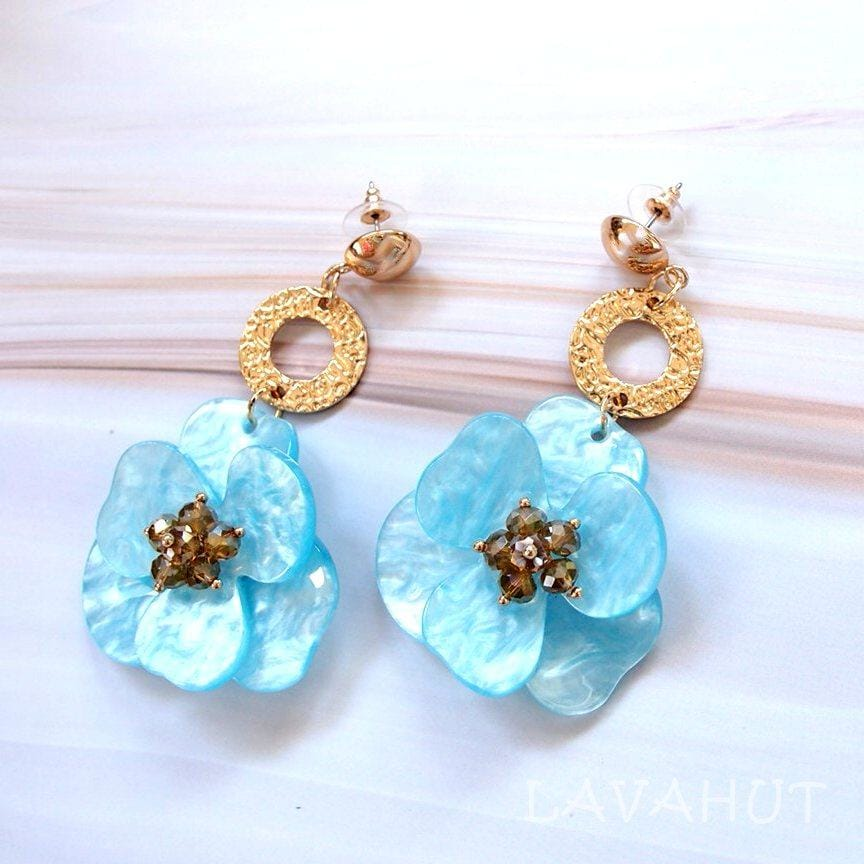 Sunburst Aqua Floral Earrings - Aqua - Earrings