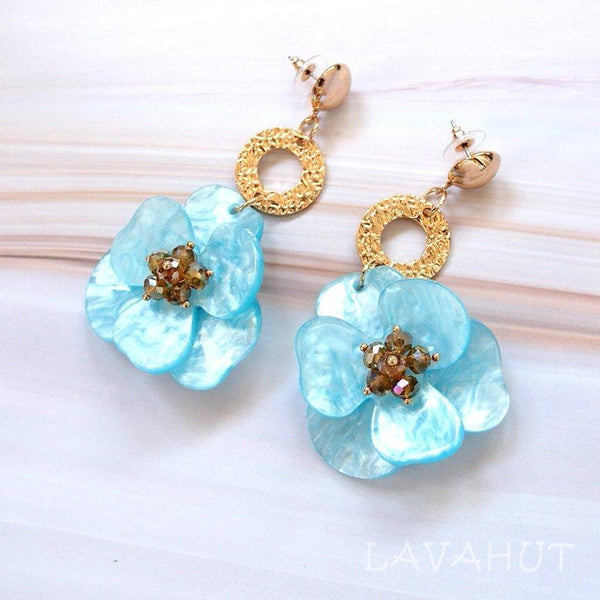 Sunburst Aqua Floral Earrings - Earrings
