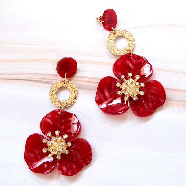 Sunburst Red Floral Earrings - Earrings