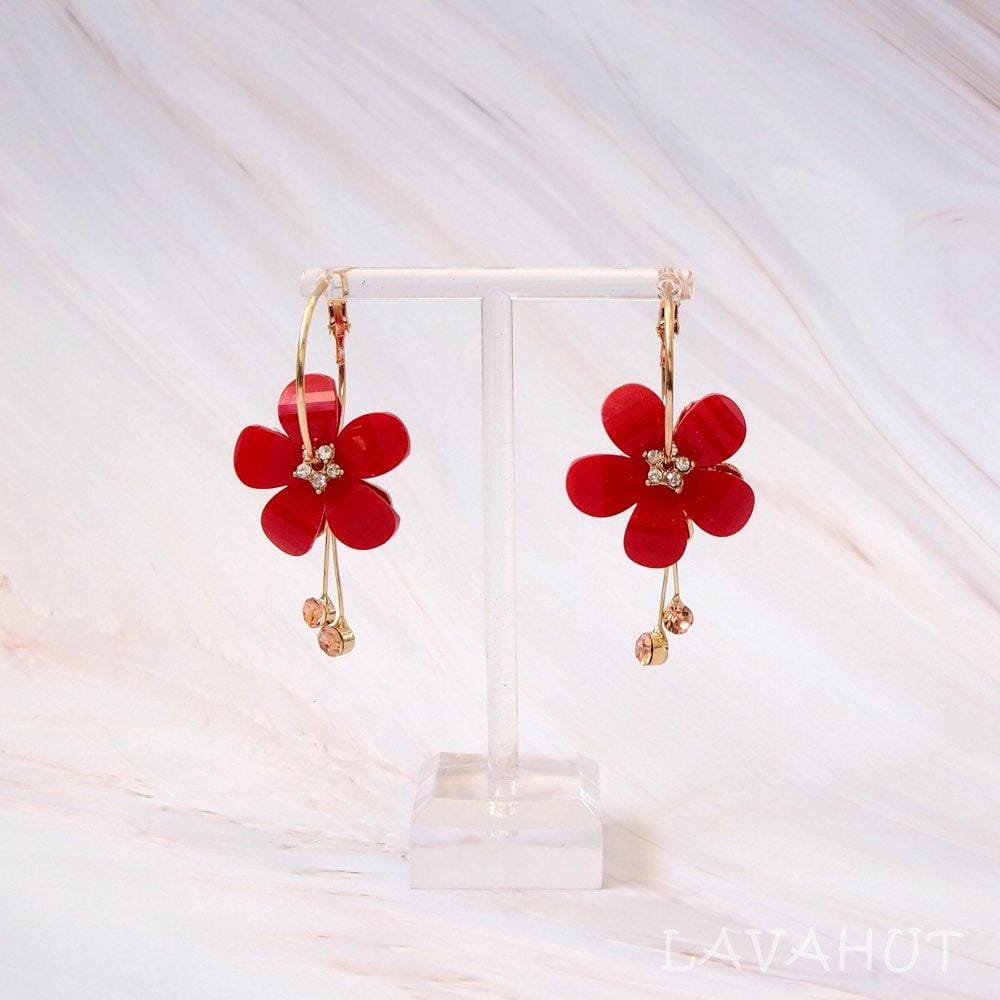 Sunny Plumeria Red Dangle Hoop Earrings - Red - Earrings