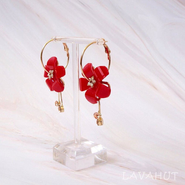 Sunny Plumeria Red Dangle Hoop Earrings - Earrings
