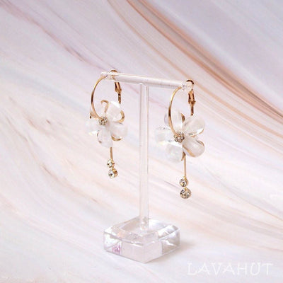 Sunny Plumeria White Dangle Hoop Earrings - White - Earrings