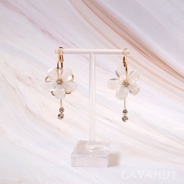 Sunny Plumeria White Dangle Hoop Earrings - Earrings
