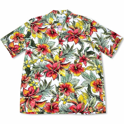 Sunny White Hawaiian Rayon Shirt - Men's Shirts