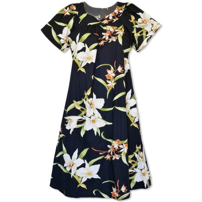 Surprise Black Cotton Hawaiian Tea Muumuu Dress - Women's Dress