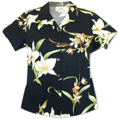 Surprise Black Lady's Hawaiian Cotton Blouse - Women's Blouses