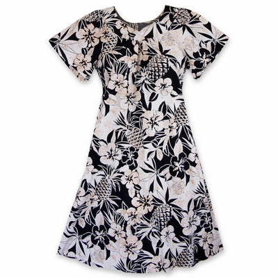 Sweet Pineapple Black Cotton Hawaiian Tea Muumuu Dress - Women's Dress