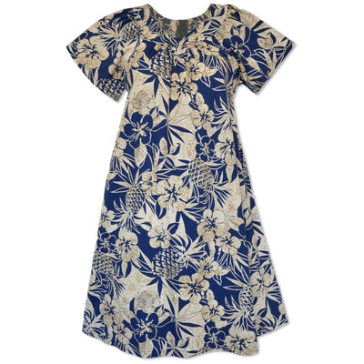 Sweet Pineapple Blue Cotton Hawaiian Tea Muumuu Dress - Womens Dress