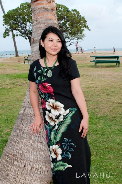 Sweetheart Black Hawaiian Dress with Sleeves - Women's Dress