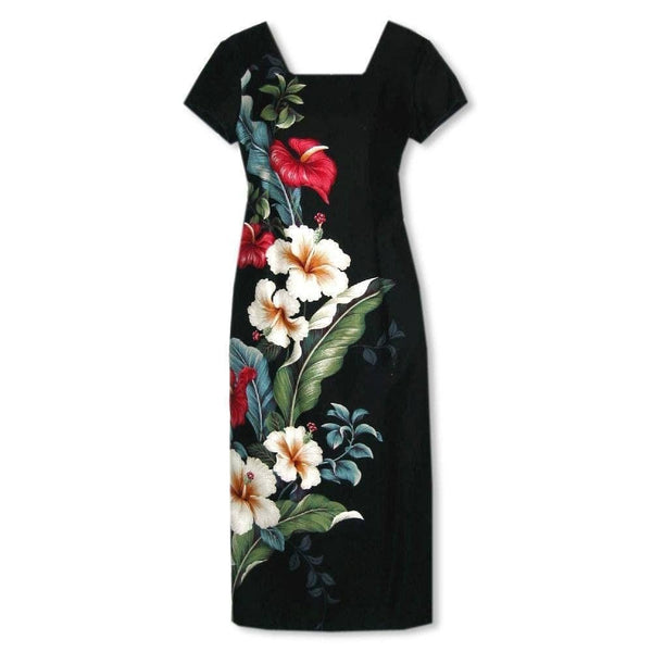 Sweetheart Black Hawaiian Dress With Sleeves - Womens Dress