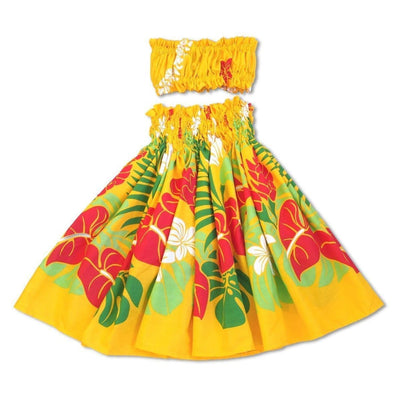 Sweetie Yellow Girls Pau Hawaiian Hula Skirt Set - Girls Pau Hula Skirt