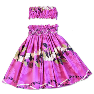 Tickle Pink Girls Pau Hawaiian Hula Skirt Set - Girls Pau Hula Skirt