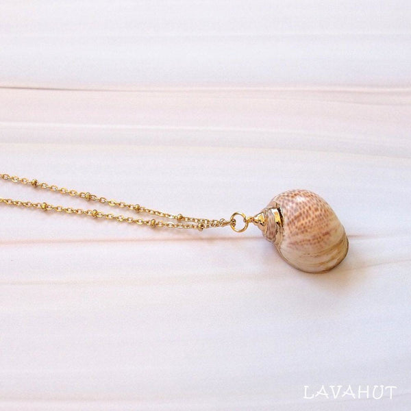 Tiger Moon Seashell Hawaiian Pendant Necklace - Necklaces