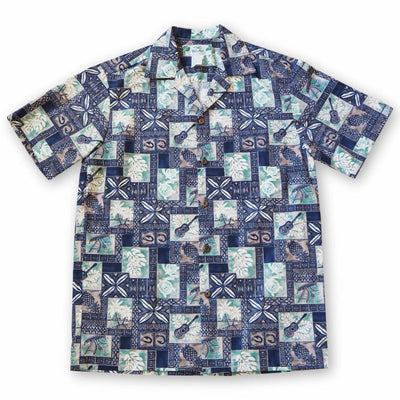Tropic Vision Blue Hawaiian Cotton Shirt - S / Blue - Mens Shirts