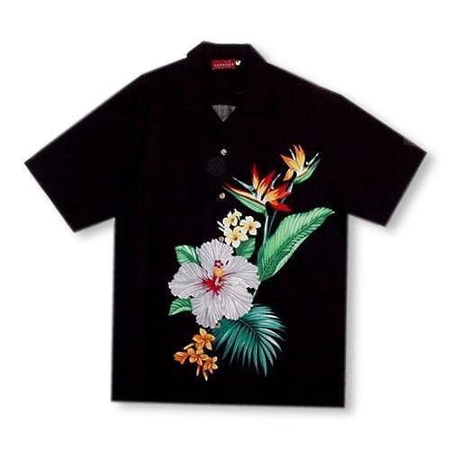 Tropicana Black Hawaiian Rayon Shirt - Mens Shirts