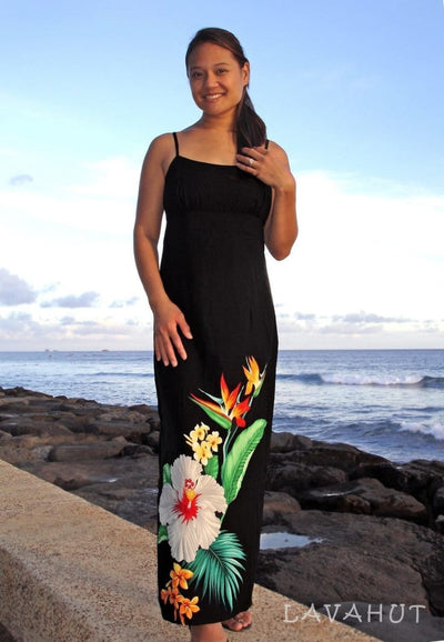 Tropicana Long Hawaiian Dress with Skinny Straps - Women's Dress
